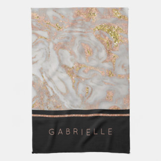 Modern Faux Rose Gold Marble Swirl Monogram Hand Towels