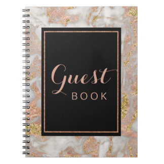 Modern Faux Rose Gold Marble Wedding Guest Book