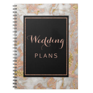 Modern Faux Rose Gold Marble Wedding Planner Notebook