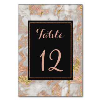 Modern Faux Rose Gold Marble Wedding Table Number