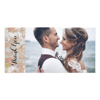 Modern Faux Rose Gold Marble Wedding Thank You Card