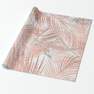 Modern faux rose gold palm tree leaf marble