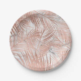 Modern faux rose gold palm tree leaf marble 7 inch paper plate