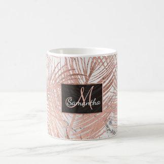 Modern faux rose gold palm tree leaf marble coffee mug
