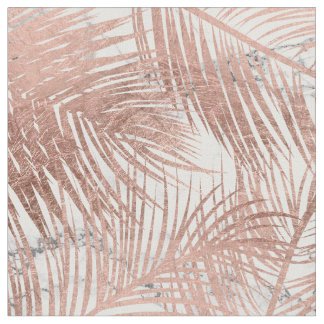 Modern faux rose gold palm tree leaf marble fabric