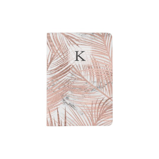 Modern faux rose gold palm tree leaf marble passport holder