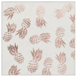 Modern faux rose gold pineapples white marble fabric