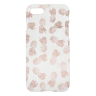 Modern faux rose gold pineapples white marble iPhone 8/7 case