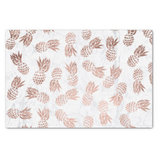 Modern faux rose gold pineapples white marble tissue paper