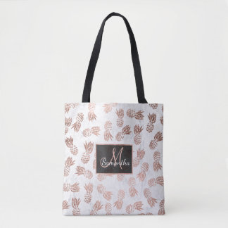 Modern faux rose gold pineapples white marble tote bag