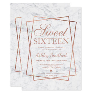 Modern faux rose gold script marble Sweet 16 Card