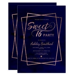 Modern faux rose gold script navy blue Sweet 16 Card