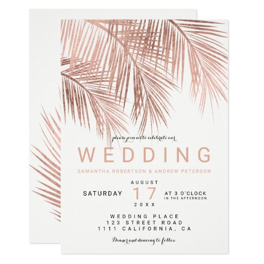 Modern faux rose gold tropical palm tree wedding card