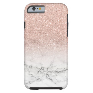 Modern faux rose pink glitter ombre white marble tough iPhone 6 case