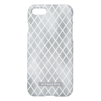 Modern Faux Silver Foil Diamond Pattern iPhone 8/7 Case