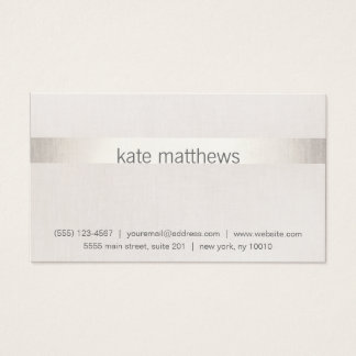 Modern Faux Silver Stripe on Linen Business Card