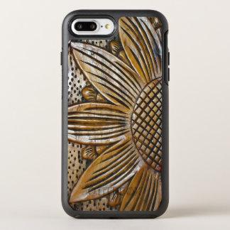 Modern Faux Wooden Sunflower Sculpture Photo Print OtterBox Symmetry iPhone 8 Plus/7 Plus Case