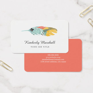 Modern Feather Business Cards / Melon