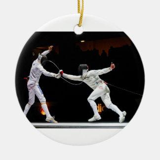 Modern Fencing Sword Fighting Dual Round Ceramic Ornament