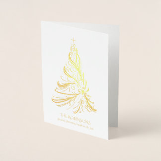 Modern Filigree Christmas Tree Gold Foil Card