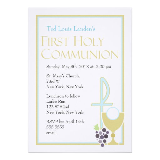 Modern First Communion Invitations  |  Blue
