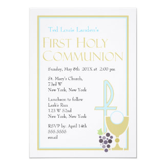 Modern First Communion Invitations  |  Blue