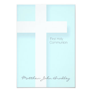 "Modern First Holy Communion in Blue 3.5"" X 5"" Invitation Card"