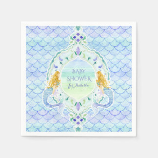 Modern Fish Scale Mermaid Baby Shower Watercolor Disposable Napkins