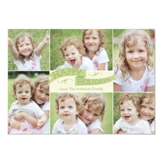 "Modern Flag Holiday Photo Card - Green 5"" X 7"" Invitation Card"