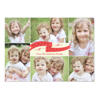 "Modern Flag Holiday Photo Card - Red 5"" X 7"" Invitation Card"