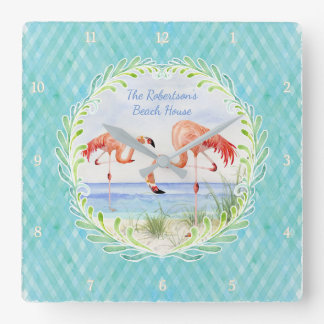 Modern Flamingo Beach Ocean Sand Shore Aqua Blue Wall Clock