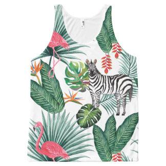 Modern flamingo zebra tropical leaf watercolor All-Over-Print tank top