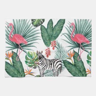 Modern flamingo zebra tropical leaf watercolor kitchen towel