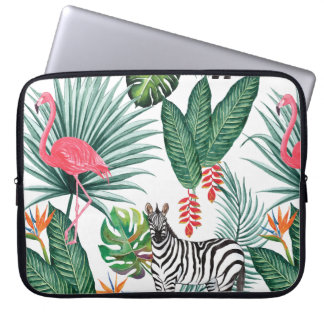 Modern flamingo zebra tropical leaf watercolor laptop sleeve