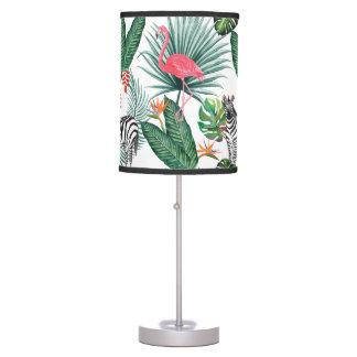 Modern flamingo zebra tropical leaf watercolor table lamp