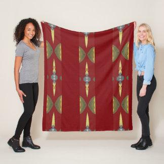 Modern Fleece Blanket- Home - Red/Gold/Blue/Creme