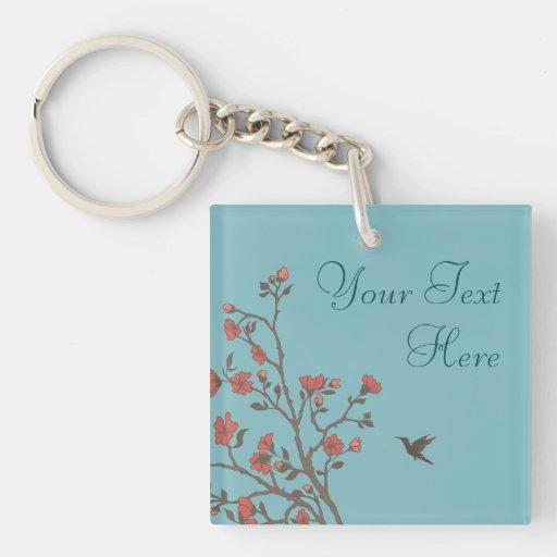 Modern Floral 2 Wedding Keychain