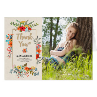 Modern Floral and Gold Border Graduation Thank You Card