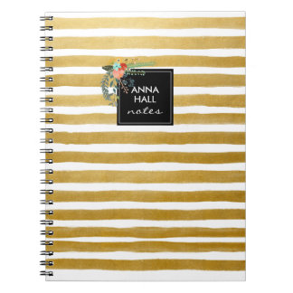 Modern Floral and Gold Foil Stripes Notebook