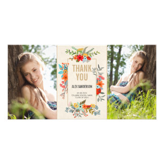 Modern Floral and Gold Graduation Thank You Photo Cards