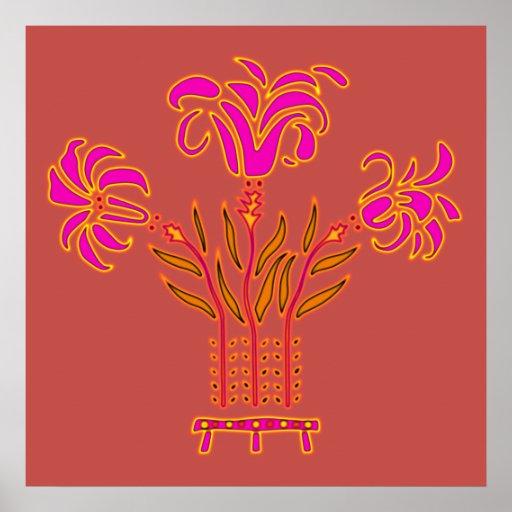 Modern floral Art Nouveau flowers popart style Print
