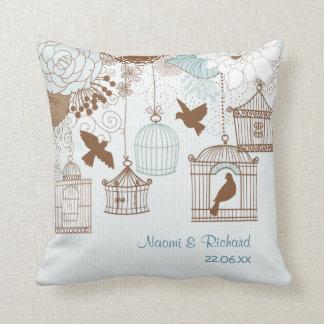 Modern Floral Birdcage Blue Throw Pillow