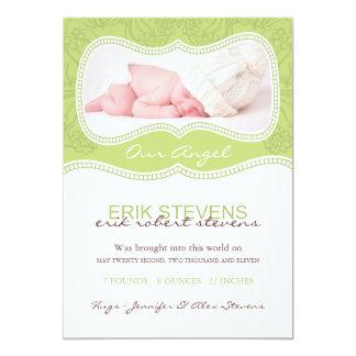 Modern Floral Birth Announcement Photo card