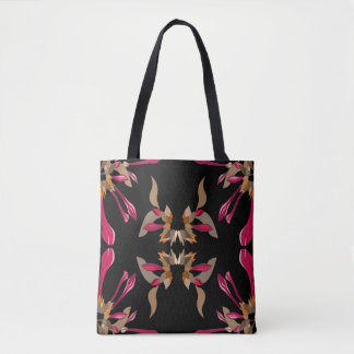 Modern Floral Black and Cyclamen Tote Bag