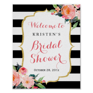 Modern Floral Black Stripes Bridal Shower Sign Poster
