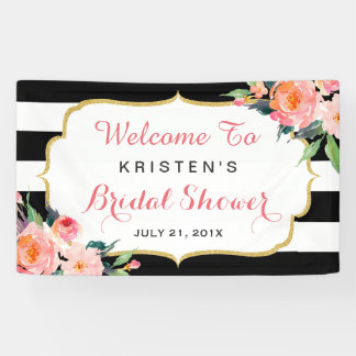 Modern Floral Black White Stripes Bridal Shower Banner