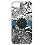 Modern Floral Black White Teal Ribbon Monogrammed iPhone 5C Covers