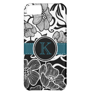 Modern Floral Black White Teal Ribbon Monogrammed iPhone 5C Cases