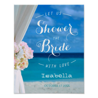 Modern Floral Blue Ocean Beach Bridal Shower Sign