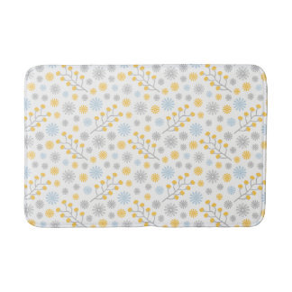 Modern Floral Blue Yellow & Gray Medium Bath Mat